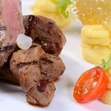 Tenderloin of veal with a sauce figs Royalty Free Stock Images