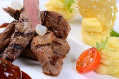 Tenderloin of veal with a sauce of figs Royalty Free Stock Photo