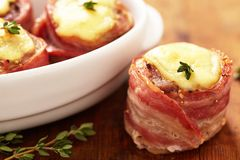 Tenderloin wrapped bacon Royalty Free Stock Photos