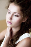 Tenderness. Face of Tranquil Refined Young Woman. Natural Makeup. Fresh Refined Young Woman. Natural Makeup Royalty Free Stock Photo