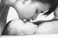 Tenderness motherhood mother and baby Royalty Free Stock Photography