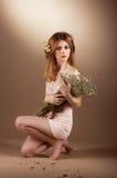 Tenderness. Nostalgia. Adorable Meek Woman with Herbarium Stock Image