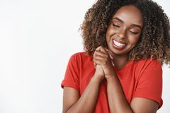 Tenderness, romance and sensuality concept. Caring and loving gentle african-american girlfriend thankful for romantic. Boyfriend close eyes and smiling broadly royalty free stock photos