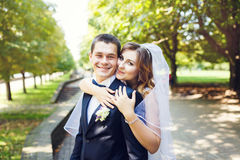 Tenderness wedding couple Royalty Free Stock Image