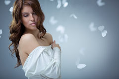 Tenderness. Young attractive girl with butterflies Royalty Free Stock Images