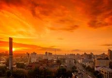 Tendez le cou dans le chantier de construction sous le coucher du soleil Photo libre de droits