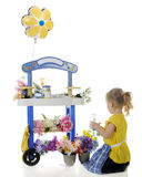 Tending Flowers. A preschooler tending the flowers on her vending stand.  Signs on the stand left blank for your text.  On a white backgound Stock Photo