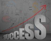A tendência crescente do sucesso com negócio rabisca na parede Fotos de Stock Royalty Free