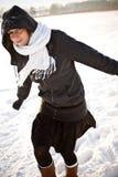 Tendo o divertimento na cena do inverno Imagens de Stock
