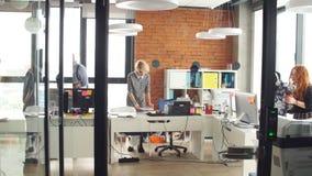 Tendo uma boa estadia entre colegas diversos no escrit?rio para neg?cios startup filme