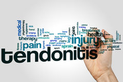 Tendonitis word cloud. Concept on grey background Stock Image