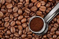 Tenedor de la máquina del café del café express Fotografía de archivo