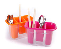 Tenedor de los utensilios de la cocina en fondo. Fotografía de archivo libre de regalías