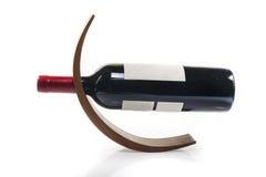 Tenedor de madera de la botella de vino Imagen de archivo libre de regalías