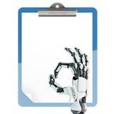 Tenedor de papel de la pista y brazo robótico Imagenes de archivo