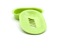 Tenedor del jabón verde Imagen de archivo libre de regalías
