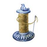 Tenedor raro de la guita del jardín del arrabio del vintage con el pájaro stock de ilustración
