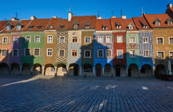 Tenement houses with arcades. In the Old Market Square in Poznan Stock Images