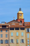 Tenement houses and church Royalty Free Stock Photos