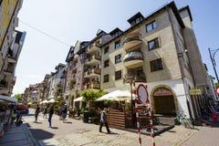 Tenement houses in Kolobrzeg Royalty Free Stock Images