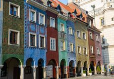 Tenement houses, Poznań, Poland. Tenement houses, Old Market Square in Poznań, Poland Stock Images