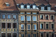 Tenements facades on Old Town Square historic district, Warsaw Royalty Free Stock Images