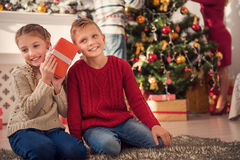Tenemos gusto de los regalos del Año Nuevo Fotografía de archivo