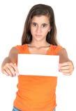 Tenencia adolescente hispánica una muestra en blanco Imagen de archivo libre de regalías