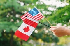 Tenencia de brazo de mano que agita banderas canadienses y americanas en Forest Park verde Imagenes de archivo