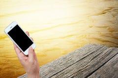 Tenencia de la mano de la mujer y móvil con, teléfono celular, teléfono elegante Foto de archivo