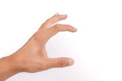 Tenencia de la mano del hombre aislada en blanco Foto de archivo