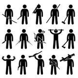 Tenencia del hombre y usar iconos de las armas Foto de archivo libre de regalías