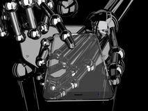Tenencia y tacto robóticos de la mano en Smartphone transparente Fotografía de archivo
