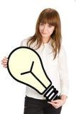 Tenendo fine della lampadina in su Immagini Stock
