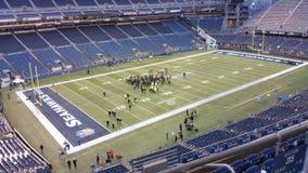 Tener una conferencia antes del partido de fútbol en Seattle Imagenes de archivo