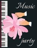 Tenerezza e musica Illustrazione simbolica di vettore con un bello fiore rosa, le mani di un musicista e la tastiera di piano illustrazione vettoriale