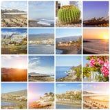Tenerife κολάζ, ηλιόλουστες διακοπές ταξιδιού παραλιών στοκ εικόνες με δικαίωμα ελεύθερης χρήσης