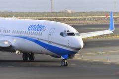 TENERIFE ΣΤΙΣ 17 ΙΟΥΛΊΟΥ: Αεροπλάνο στο έδαφος 17 Ιουλίου 2017, Tenerife καναρίνι Στοκ Εικόνες