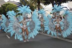 TENERIFE, ΣΤΙΣ 17 ΦΕΒΡΟΥΑΡΊΟΥ: Ομάδες καρναβαλιού και ντυμένοι με κοστούμι χαρακτήρες Στοκ Φωτογραφία