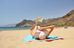 Tenerife, Canaries. Beach scene. Playa de la Teresitas. Tenerife, Canaries stock photo