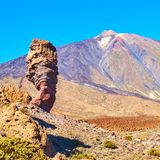 Tenerife, The Canaries. Classic view of The Teide and The Cinchado rock in Tenerife, The Canaries royalty free stock image