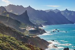 Tenerife, Canary Islands, Spain. Western coast view, mountain Anaga and costal village royalty free stock photo