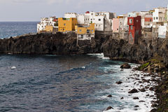 Tenerife coast with colour houses. Puerto de la Cruz Royalty Free Stock Photos