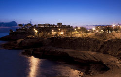 Tenerife coast with a fort. Night scene Stock Photo