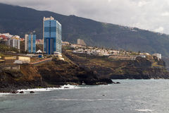 Tenerife coast with mountains.Puerto de la Cruz Stock Images