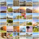 Tenerife collage, solig strandloppsemester arkivfoto