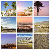 Tenerife Collage, Sunny beach travel vacation Royalty Free Stock Image