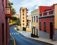 Tenerife. Colourful houses and house with unusual balconies on s Stock Photography