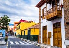 Tenerife. Colourful houses on street in Puerto de la Cruz town, Stock Images