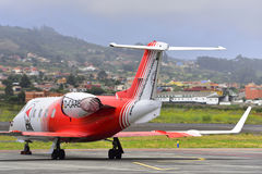 TENERIFE 19 DE JULIO: Ambulancia aérea en el aeropuerto del norte de Tenerife 19 de julio de 2017 Islas Canarias España de Teneri Imagen de archivo